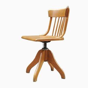 Chaise de Bureau Ajustable et Pivotante en Hêtre et Acier de Stoll, 1960s
