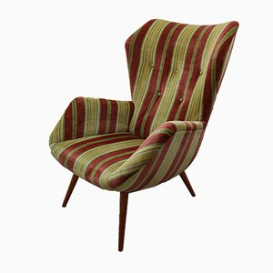 Vintage Striped Velvet Armchair, 1970s