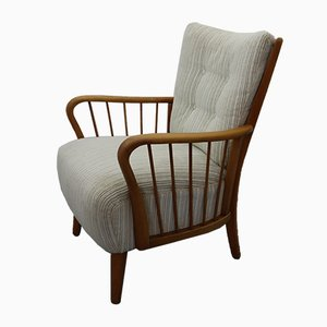 Mid-Century Wood and Corduroy Armchair, 1950s