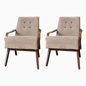 Vintage Grey and Brown Lounge Chairs, 1960s, Set of 2