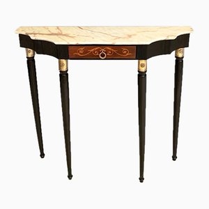 Mid-Century Italian Brass and Wood Console Table with Portuguese Pink Marble Top, 1950s