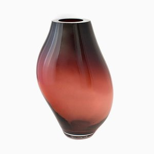 Supernova IV Silver Smoke Red M Vase by Simone Lueling for ELOA