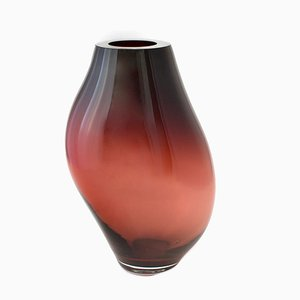 Supernova IV Silver Smoke Red L Vase by Simone Lueling for ELOA