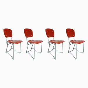 Mid-Century Aluminum & Birch Aluflex Dining Chairs by Armin Wirth. for Ph. Zieringer KG, Set of 4