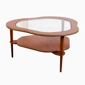 Mid-Century Glass and Teak Tripod Coffee Table, 1960s