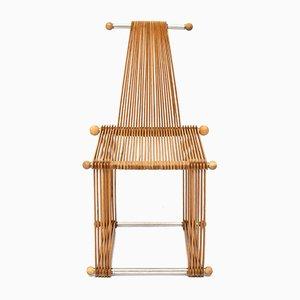Vintage Scandinavian Modern Beech Popstical Stick Armchair, 1980s
