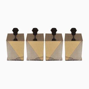 Quadratische Tischlampen von Willy Rizzo, 1970er, 4er Set