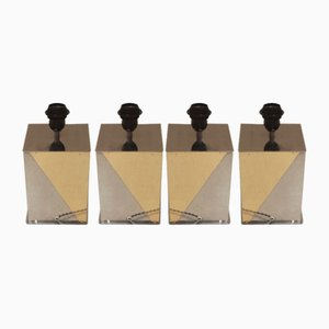 Square Table Lamps by Willy Rizzo, 1970s, Set of 4