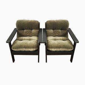 Große Sessel in Grün & Schwarz, 1960er, 2er Set