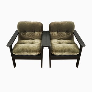 Large Green and Black Lounge Chairs, 1960s, Set of 2