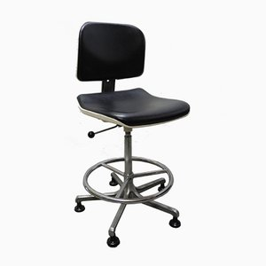 Modernist German Chrome, Leather, & Tubular Steel Desk Chair from Girsberger, 1970s