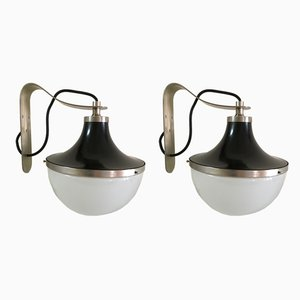 Italian Frosted Glass Sconces by Sergio Mazza for Artemide, 1969, Set of 2