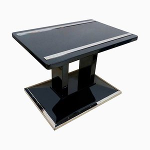 Chrome Plated, Glass, and Ash Bauhaus Style Coffee Table, 1920s