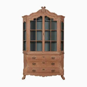Antique German Oak Display Cabinet, 1840s