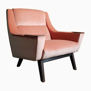 Mid-Century Pink Velvet Armchair, 1950s
