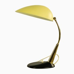 Mid-Century German Yellow & Black Aluminum and Brass Table Lamp, 1950s