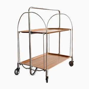 Mid-Century German Plastic and Tubular Steel Dinett Folding Trolley from Bremshey & Co.