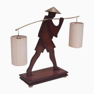 Mid-Century Tischlampe aus Messing & Mahagoni, 1960er