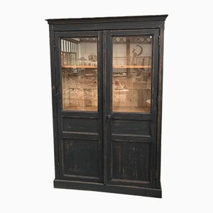 Antique Industrial Wooden Display Cabinet