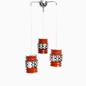 Mid-Century Swedish Metal & Lacquer Sputnik Cascade Ceiling Lamp by Carl Thore