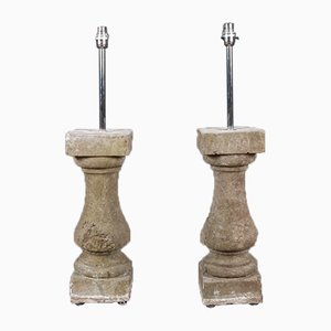 Antike Balustraden-Tischlampen aus Kalkstein, 2er Set