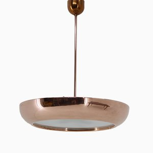 Copper Bauhaus Pendant Lamp by Josef Hurka for Napako, 1960s
