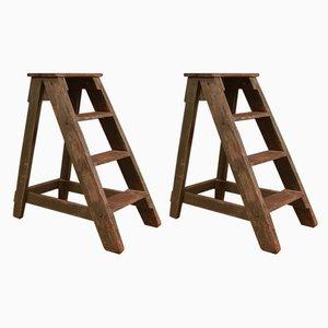 Antike Bibliothekstreppen aus Holz, 2er Set