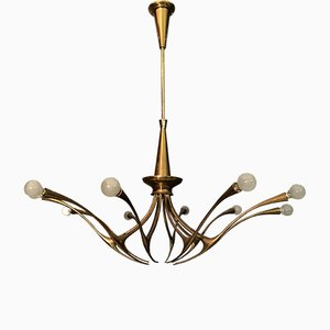 Mid-Century Italian Brass Model 392 Chandelier by Oscar Torlasco for Lumi, 1950s