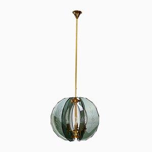 Lámpara de araña italiana Mid-Century de latón cortado y cristal de Murano, años 50