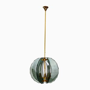 Mid-Century Italian Brass and Cut Murano Glass Chandelier, 1950s