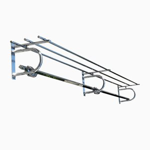 Large French Chrome Plated Metal Art Deco Coat Rack, 1920s
