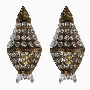Mid-Century French Brass Wall Lights, Set of 2