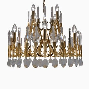 Italian Brass & Crystal Oval Chandelier by Gaetano Sciolari for Sciolari, 1970s