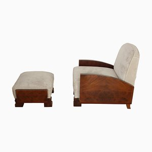 Art Deco Mahogany and Rosewood Lounge Chair and Ottoman Set, 1930s