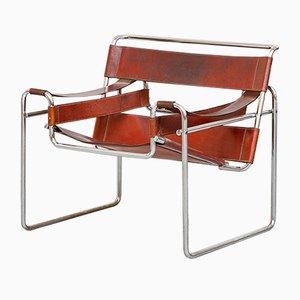 Cognacfarbener Wassily Lederstuhl von Marcel Breuer für Knoll International, 1968
