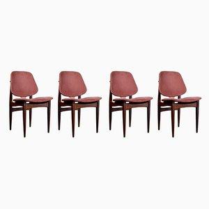 Mid-Century Vintage Stühle mit Gestell aus Teak & Samtbezug von Elliotts of Newbury, 1960er, 4er Set