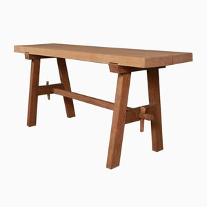 Antique French Oak and Sycamore Trestle Table, 1840s