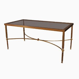 Vintage Brass and Glass Coffee Table, 1920s