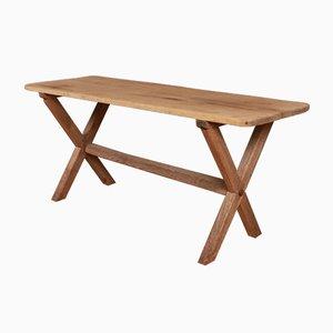 Mesa de taberna antigua de roble y pino, década de 1820