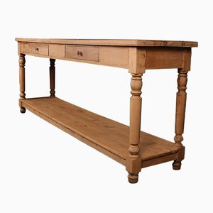 Antique French Bleached Pine and Walnut Draper's Table, 1870s