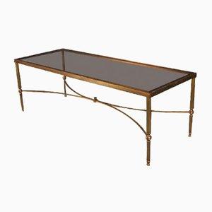 Table Basse Vintage en Laiton et Verre, 1920s
