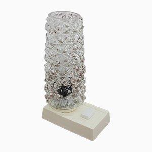 Lámpara de mesa alemana vintage de vidrio y metal, años 70