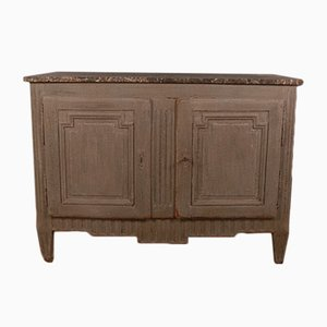 Antique French Wood and Marble Buffet