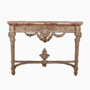 Antiker italienischer Konsolentisch mit Holzgestell & Marmorplatte