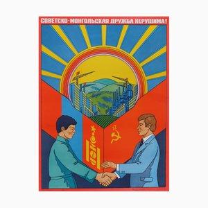 Vintage Mongolian Friendship Communist Propaganda Paper Poster, 1981