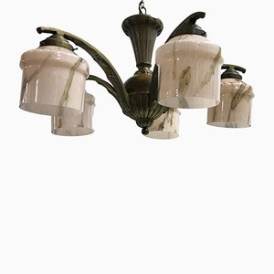 Art Deco French Bronze and Opaline Glass Chandelier, 1930s