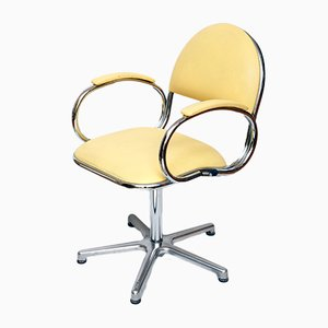 Vintage Yellow Vinyl Swivel Chair from Eca, 1970s
