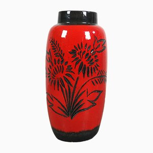Mid-Century German Red Ceramic Vase from Scheurich, 1960s