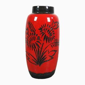 Rote deutsche Mid-Century Keramikvase von Scheurich, 1960er