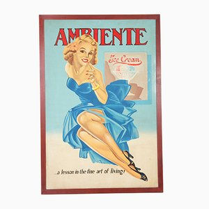 Poster vintage pubblicitario del gelato, anni '60